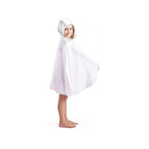 Peleryna z atłasu z kapturem biała - przebrania / kostiumy dla dzieci, odgrywanie ról - 128 cm marki Aster