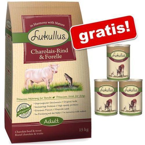 Lukullus 15 kg + lukullus natural, 3 x 400 g gratis! - kurczak i łosoś z morza północnego (4260077048190)