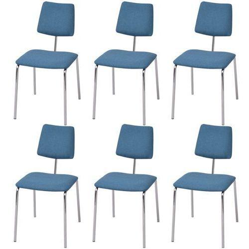 Vidaxl krzesła jadalniane materiałowe, niebieskie, 6 szt.