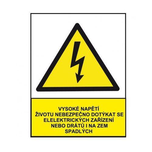 Wysokie napięcie niebezpieczne dla życia przy dotykaniu urządzeń albo drutów elektrycznych z kategorii Znaki informacyjne i ostrzegawcze