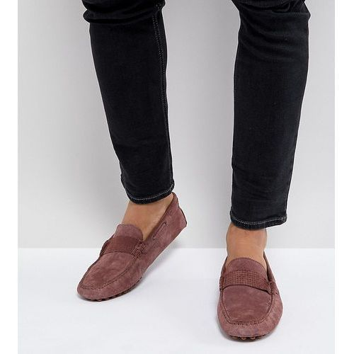 ASOS Wide Fit Driving Shoes In Pink Suede With Emboss Strap Detail - Pink, kolor różowy