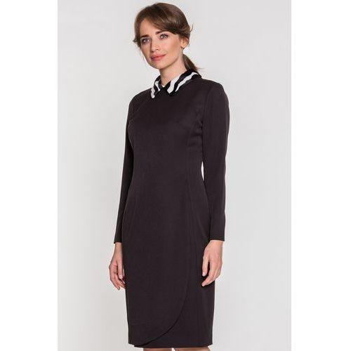 Czarna sukienka z kołnierzykiem - Metafora, 1 rozmiar