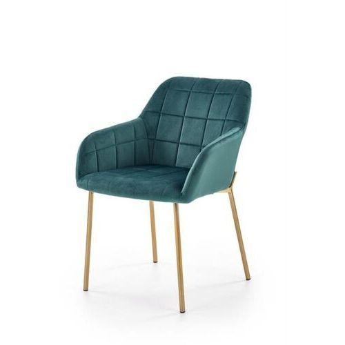 Nowoczesne krzesło rufo, welur ciemny zielony