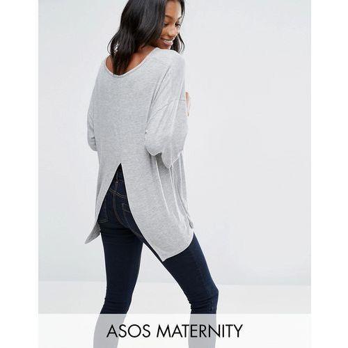 ASOS Maternity Top With Kimono Sleeve and Split Back in Oversized Fit - Grey z kategorii Pozostała moda i styl