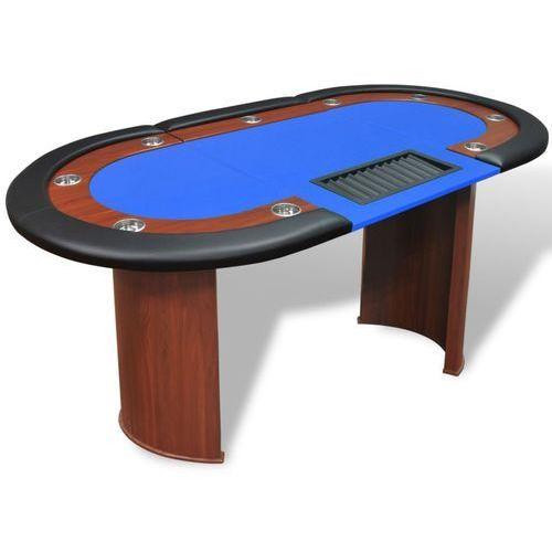 vidaXL Stół do pokera dla 10 graczy z tacą na żetony, niebieski