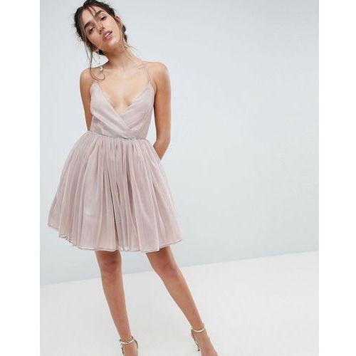 ASOS Metallic Tulle Mini Dress - Pink