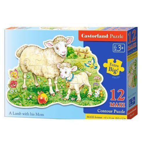 Puzzle 12 elementów maxi konturowe. Owieczki na łące, 5904438120079 (2714636)
