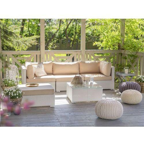 Beliani Meble ogrodowe białe - rattanowe - sofa rattanowa - sano