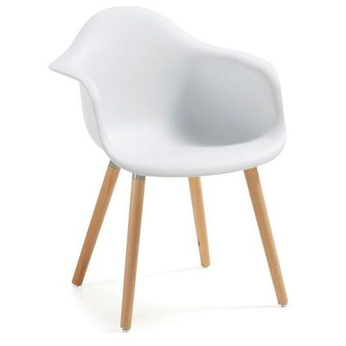 Krzesło TOME z podłokietnikiem plastikowe białe - biały, kolor biały