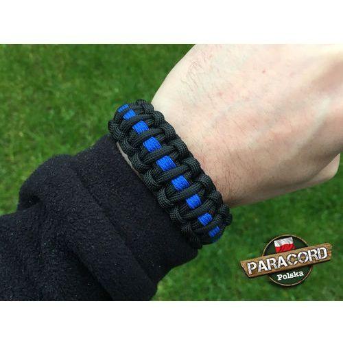 "Paracord polska Bransoleta z paracordu typ ""cobra thin blue line"" z wplecioną plastikową klamrą"