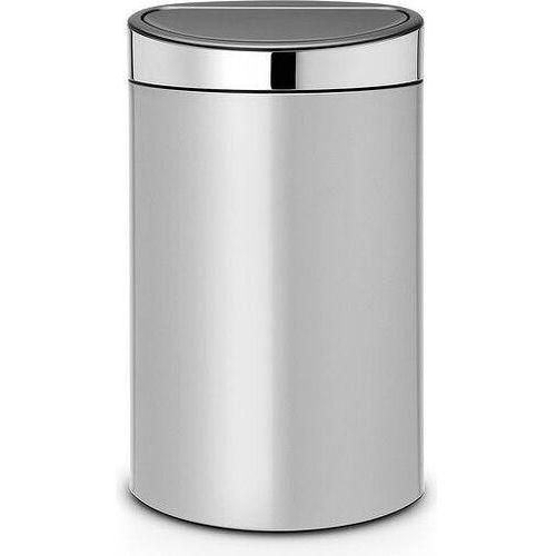 Brabantia - Kosz Touch Bin 40 l - wiaderko plastikowe - metaliczny szary/pokrywa stalowa - szary ||stal polerowana (8710755114861)