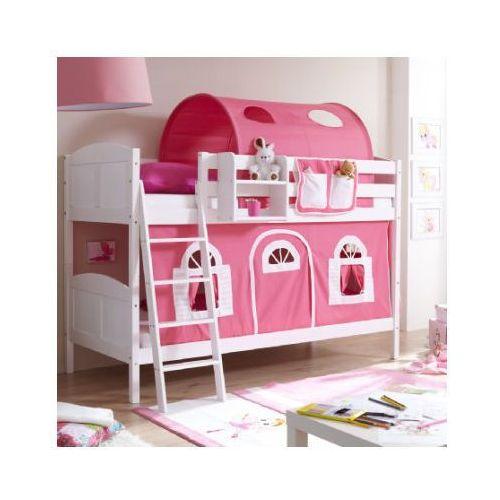 Ticaa kindermöbel Ticaa łóżko piętrowe erni country dworek białe drewno sosnowe kolor różowo-biały