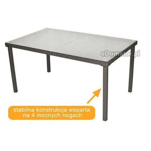 Stół ogrodowy z technorattanu malaga - brązowy - brązowy marki Edomator.pl