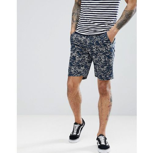 Bellfield Slim Fit Chino Short With Wave Print - Navy