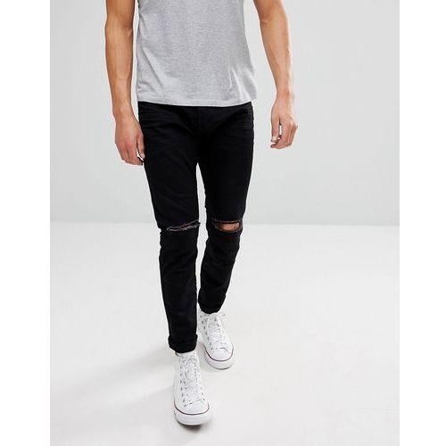 Esprit skinny fit jeans in black with distressed - black