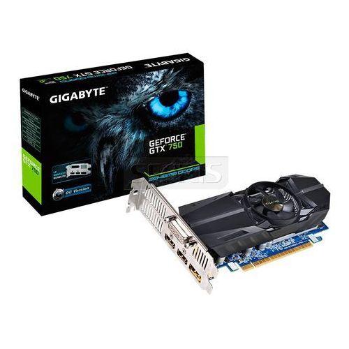 GIGABYTE GeForce GTX750 2048MB DDR5/128b D/H/ PCI-E GL - GV-N750OC-2GL z kategorii Karty graficzne