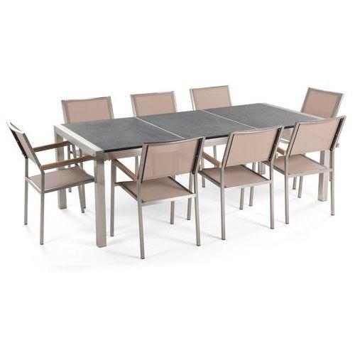 Meble ogrodowe - stół granitowy 220 cm czarny palony z 8 beżowymi krzesłami - GROSSETO (4260580937301)