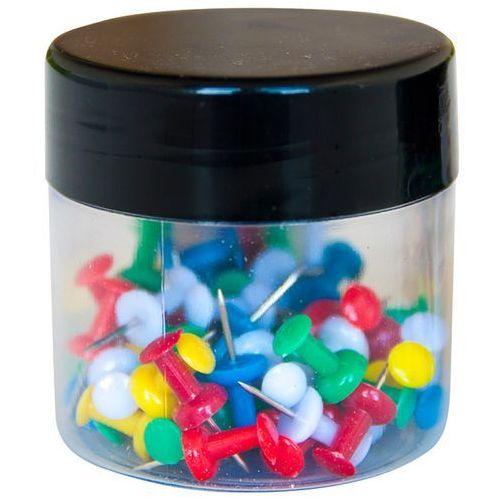 Pinezki beczułki Q-CONNECT, w plastkiowym słoiku, 60szt., mix kolorów