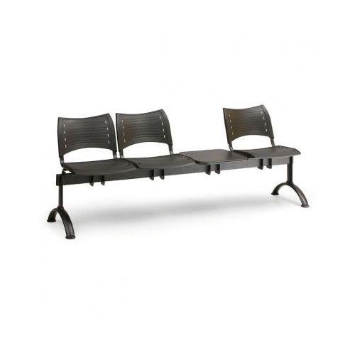 B2b partner Ławka do poczekalni plastikowa visio, 3 siedzenia + stołek, zielony, czarne nogi