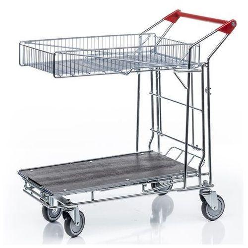 Uniwersalny wózek transportowy, 1 kosz na górze, powierzchnia ładunkowa z płyty