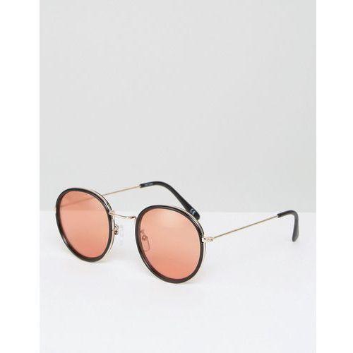 ASOS Round Sunglasses With Metal Nose Bridge and 70s Orange Coloured Lens - Black