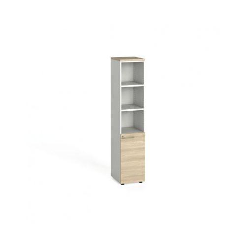 Szafa biurowa, drzwi na 2 półki, 1781 x 400 x 420 mm, biały/dąb naturalny