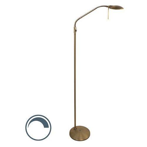 Steinhauer Klasyczna lampa podłogowa z ramieniem do czytania zawiera led ściemnialna brąz - timon
