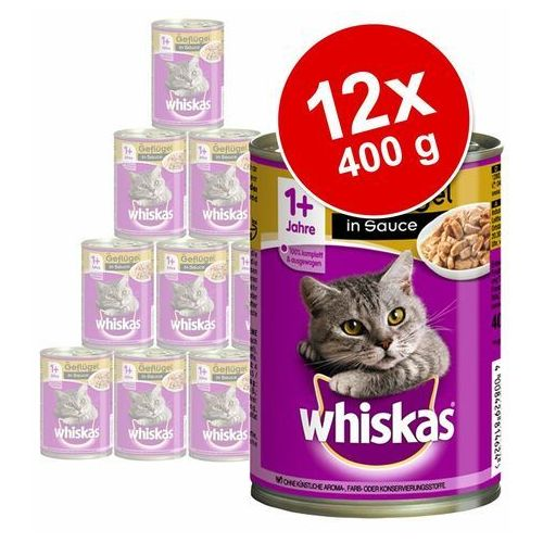 Whiskas Adult, puszki, 12 x 400 g - Pasztet z drobiu (4008429067945)