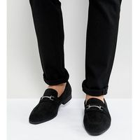 Asos wide fit loafers in black faux suede with snaffle detail - black