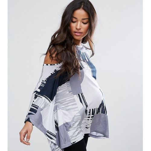 top with cold shoulder and kimono sleeve in blurred print - multi, Asos maternity