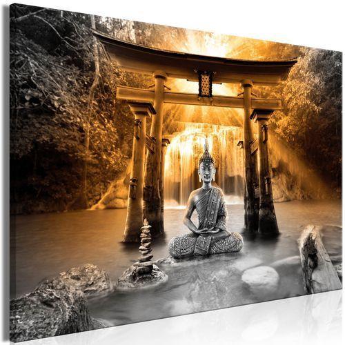 Obraz - uśmiech buddy (1-częściowy) szeroki pomarańczowy marki Artgeist