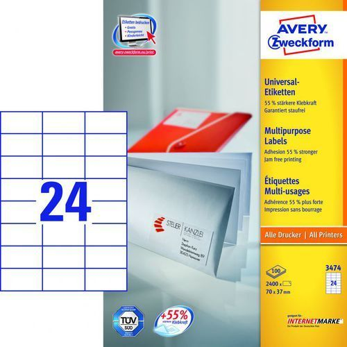 Avery zweckform Etykiety uniwersalne 3474, 70x37mm