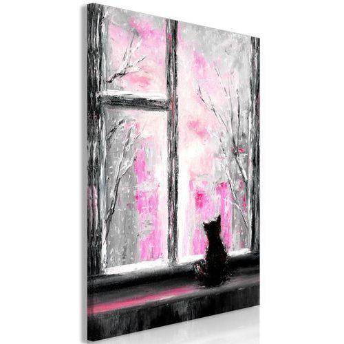 Artgeist Obraz - tęskniący kotek (1-częściowy) pionowy różowy