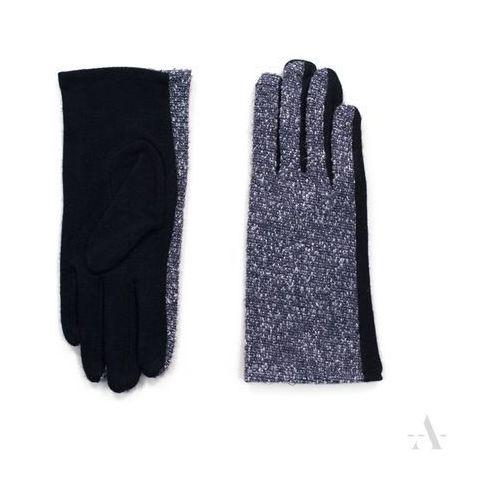 Melanżowe rękawiczki damskie czarno-granatowe - czarny   granatowy