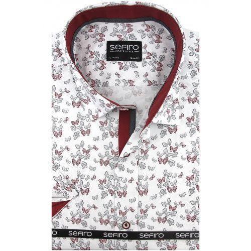 Koszula męska biała w bordowe motylki slim fit na krótki rękaw k762, Sefiro