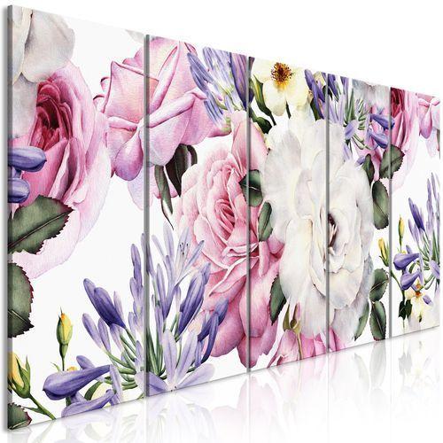 Obraz - różana kompozycja (5-częściowy) wąski kolorowy marki Artgeist