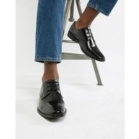 Dune brogues in black hi-shine leather with studs - black