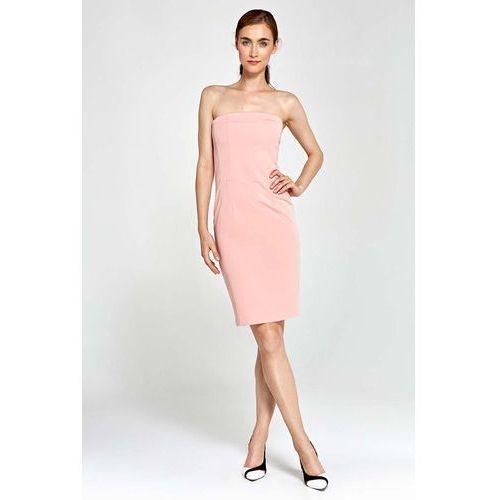 Różowa Sukienka Wieczorowa Ołówkowa Tuba z Odkrytymi Ramionami, kolor różowy