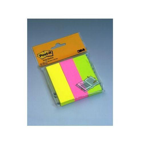 POST-IT Znaczniki samoprzylepne 671-3, 25x76mm 3 bloczki x 100 kartek, neonowe