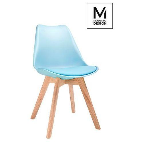 MODESTO krzesło NORDIC niebieskie - podstawa dębowa, kolor niebieski
