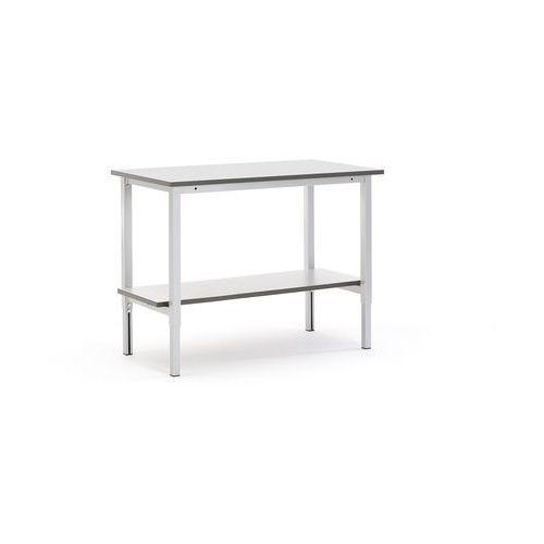 Stół roboczy motion, z ręczną regulacją wysokości, półka dolna, 1200x600 mm marki Aj produkty