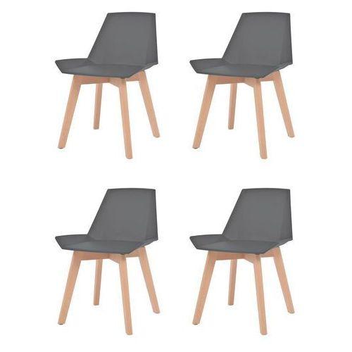 Komplet 4 krzeseł, drewniane nogi i szare, plastikowe siedziska