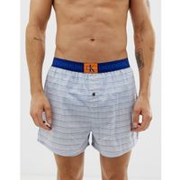 Calvin Klein Monogram check slim fit woven boxers in pale blue - Blue, w 4 rozmiarach