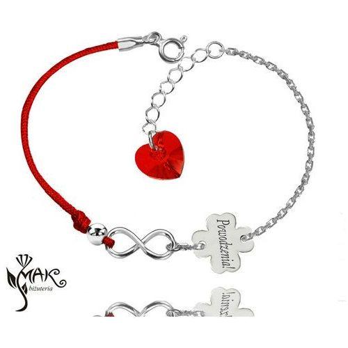 Mak-biżuteria Br900 bransoletka z grawerem sznurek infinity swarovski elements koniczynka