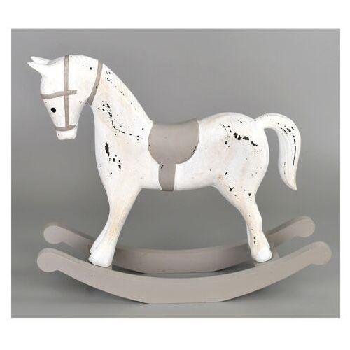 Dekoracja drewniana Koń na biegunach 26,5 x 23 cm, biały (8592653026886)