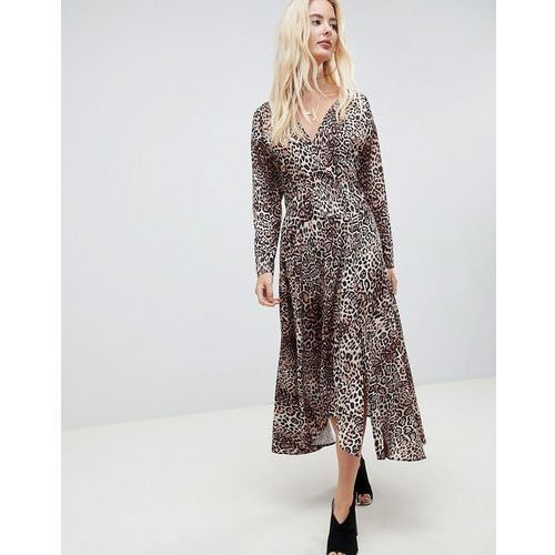 ASOS DESIGN wrap midi dress with long sleeves in leopard print - Multi