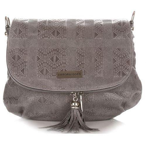 Oryginalne torebki skórzane listonoszki marki szare (kolory) marki Vittoria gotti