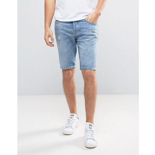 River Island Regular Denim Shorts With Abrasions In Light Wash - Blue