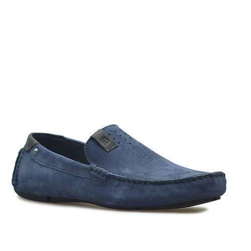 Mokasyny Badura 3153 Granat nubuk, kolor niebieski