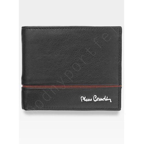 Mały cienki portfel męski skórzany tilak15 8824 sahara rfid - czarny + czerwony marki Pierre cardin